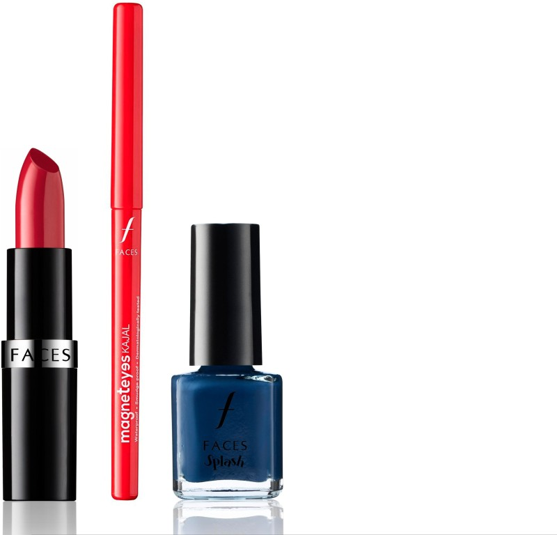 Faces Go Chic Lipstick Two Timing + Magneteyes Kajal+ Splash Nail Enamel Ultramarine Blue(Set of 3)