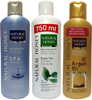 Natural Honey SPA Shower Gel & Green Tea Shower Gel & Argan Oil Shampoo