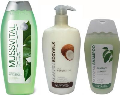Mussvital Green Tea Shower Gel & Coco Body Milk & Anti Dandruff Shampoo