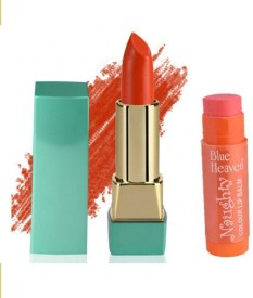Blue Heaven Mintz Glossy Lipstick (Sunset Orange) & Naughty Color Lip Balm (Orange)