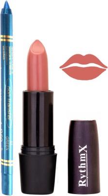 Rythmx Light Peach Mauve Lipstick And Pro Non Transfer Blue Kajal 2892
