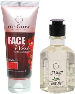 Oxyglow Strawberry Face Wash & Bhringaraj Regrowth & Revitalising Hair Oil