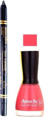Fashion Bar Pink Nail Polish With Pro Non Transfer Black Kajal