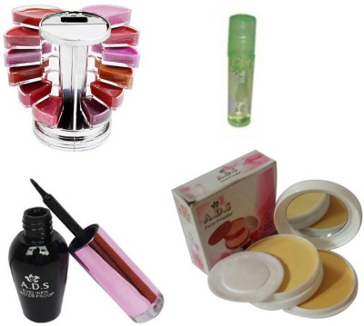 ADS 1612 Eyeliner, Lipgloss & Palette Compact Powder(Set of 4)