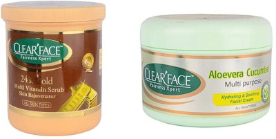 Clear Face 24 K Multi Vitamin Scrub Skin Rejuvenator & Aloevera Cucumber Multi Purpose Facial Cream