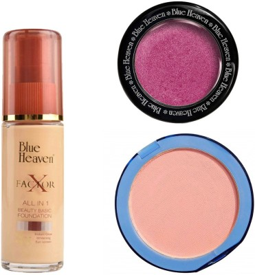 Blue Heaven X Factor Foundation (Natural), Silk On Face Compact (Skin) & Diamond Blush on 501