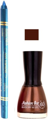Fashion Bar Chaoclaty Brown Nail Polish With Pro Non Transfer Turquoise Blue Kajal 86