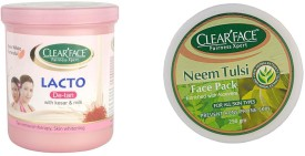 Clear Face Lacto De-Tan With Kesar & Milk With Neem Tulsi Face Pack (Enriched With Aloevera)