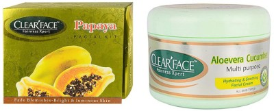 Clear Face Papaya Facial Kit & Aloevera Cucumber Multi Purpose Facial Cream