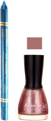 Fashion Bar Shimmer Light Pink Nail Polish With Pro Non Transfer Turquoise Blue Kajal 80