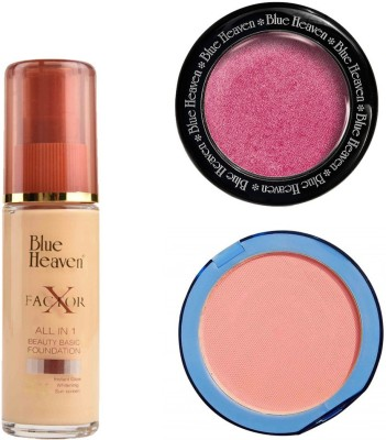 Blue Heaven X Factor Foundation (Natural), Silk On Face Compact (Pink) & Diamond Blush on 506