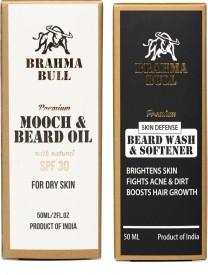 Brahma Bull Mooch & Beard Oil for Dry Skin and Beard wash & Softener(100Ml)(Set of 2)