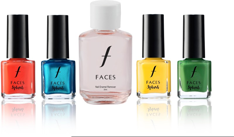 Faces Splash Nail Enamel Atomic Orange+Cerulean+Aurolean+Go Green+Nail Enamel Remover(Set of 5)