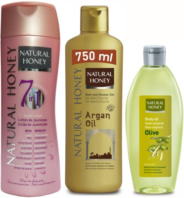 Natural Honey Body Lotion 7 in 1- Youth Lotion & Argan Shower Gel & Body Oil Olive