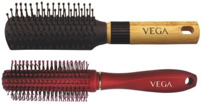 Vega Basic Mini - Flat Hair Brush R5-Fb With Premium Round Hair Brush E11-Rb