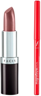Faces Glam On Ultramoist Lipstick(Mauve Strung)+Magneteyes Kajal