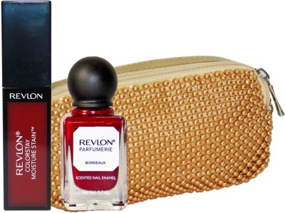 Revlon Maroon Magic Lip and Nail Beauty Collection with Golden Beads Pouch