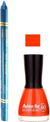Fashion Bar Dark Orange Nail Polish With Pro Non Transfer Turquoise Blue Kajal 108