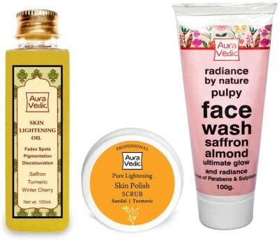 Auravedic Skin lightening combo oil+mask+face wash