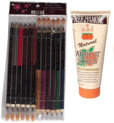 ADS Perfect Eye And Lip Liner Pencil 12 Pieces / Scrub 100 gm