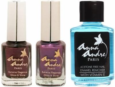 Anna Andre Paris Nail Polish - Purple Poison Duo Set & Nail Polish Remover