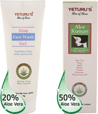 Yeturu's Aloe Face Wash Gel (Aloe Vera 20%) 70gms & Aloe Kumari (Aloe Vera 50%) 70gms