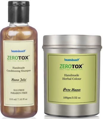 Healthbuddy Zerotox Handmade - Herbal Pure Heena Colour, 100 gm And Conditioning Shampoo Heena Tulsi, 210 ml