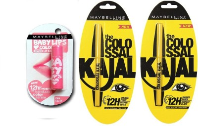 Maybelline The Colossal Kajal with Offer 0.70 g(Black) & Baby Lips Pink Lolita(4 g)