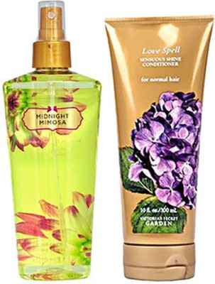 Victoria's Secret Midnight Mimosa Mist 250ml And Love Spell Conditioner 300ml Combo