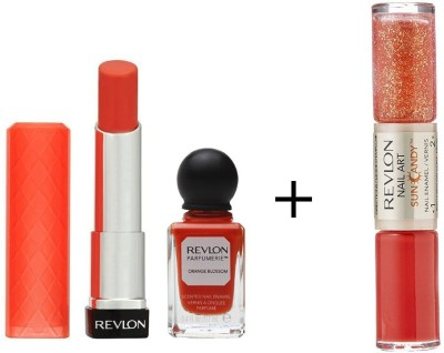 Revlon Colorburst Lip Butter Tutti Fruti & Parfumerie Nail Enamel Orange Blossom + Sun Candy Nail Enamel Lava Flame