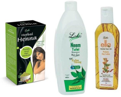 Lalas Neem Tulsi Shampoo,Ella Herbal HairOil and Herbal Henna
