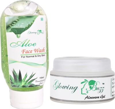 Glowing Buzz Combo of 1 Aloe Face Wash And 1 Herbal Aloe Vera Gel