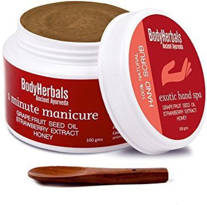 BodyHerbals 1 Minute Manicure, Elbow / Hand Scrub Grape Fruit Seed Oil, Strawberry Extract & Honey Scrub(100 g)
