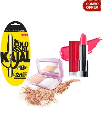 Maybelline The Colossal Kajal with Compact Powder and Color Show Lip Color