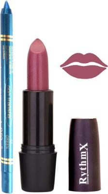 Rythmx Shimmer Purple Lipstick And Pro Non Transfer Blue Kajal 28100