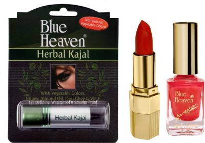 Blue Heaven Xpression Lipstick Mo 161, Xpression Nail Paint 991 & Herbal Kajal Combo.(Set of 3)