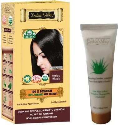 Indus valley 100% Botanical Indus Black hair color & Colour Protective Shampoo Combo Kit