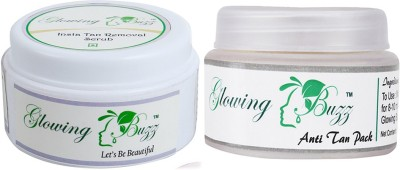Glowing Buzz Combo of Natural Anti Tan Pack for Face, Dark Under Arms and Hands and Insta Tan Removal Scrub
