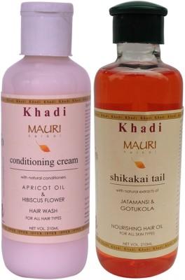 Khadimauri Conditioning Cream Shampoo & Shikakai Hair Oil Combo Pack of 2 Ayurvedic Natural 210 ml each