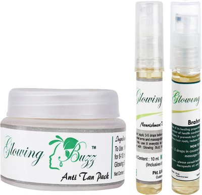 Glowing Buzz Combo of 1 Natural Anti Tan Pack for Face, Dark Under Arms and Hands, 1 Nourishment Vitamin E Oil and 1 Brahmi Essential Oil