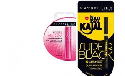 Maybelline colossal super black kajal 0.35 g & Bloom Color Changing Lip Balm-Pink Blossom Strawberry(1.7 g)