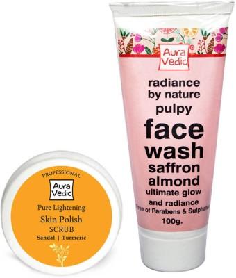 Auravedic Saffron Almond Rose face wash & sandal polish