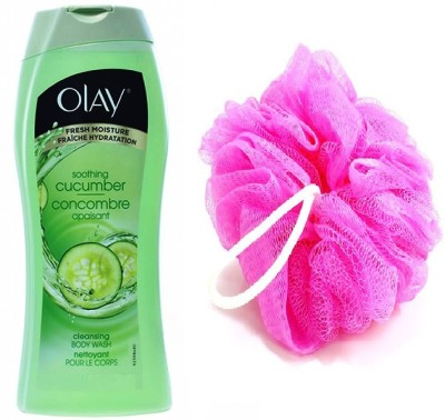 Olay Soothing Cucumber Cleansing Body Wash 354 mL With Loofah-Bath Sponge