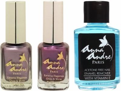 Anna Andre Paris Nail Polish - Enchanted Purple Duo Set & Nail Polish Remover