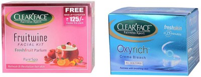 Clear Face Fruit Wine Facial Kit & Oxyrich Cream Bleach