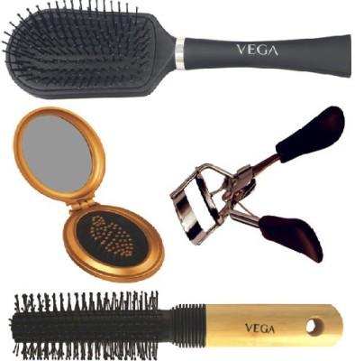 Vega Round Brush E8-RB,Eyelash Curler EC-02, Cushioned Brush E5-CB, Oval Brush with Mirror R3-FM