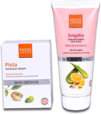 VLCC Pista Massage Cream & Snigdha Skin Whitening Face Mask(Set of 2)