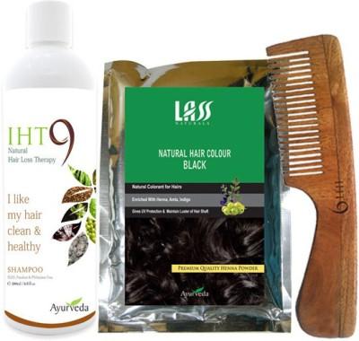 Lass Naturals Iht9 Hair Regrowth Shampoo with Natural Black Hair Colour +Neem Wood Hair Comb LC-1