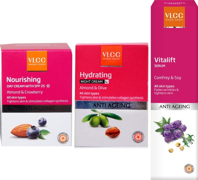 VLCC Nourshing Day Cream Hydrating Night Cream and Vitalift Serum(Set of 3)