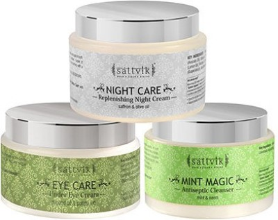 Sattvik Organics Younger Looking Skin Combo- (Mint Magic 100gm, Eye Care 40gm, Night Care 100gm)